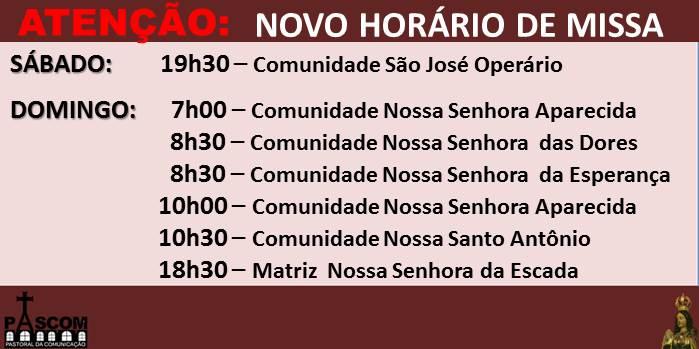 novos horario das missa atuais