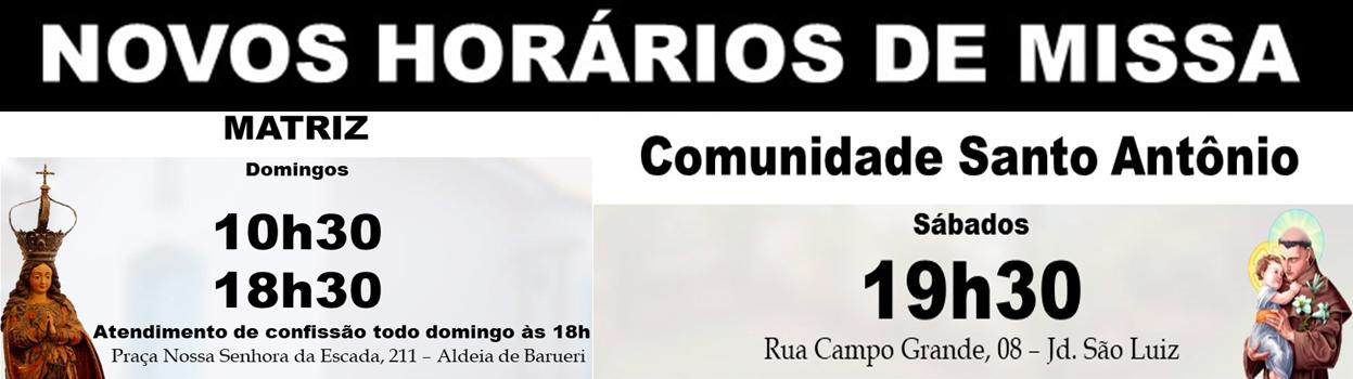Novos Horarios de Missa highlight 2018